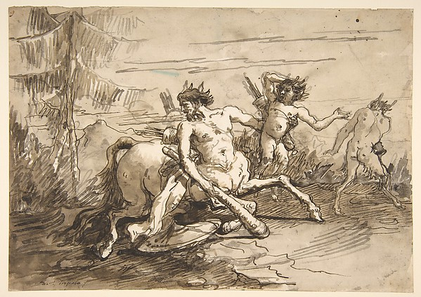 Fascinating Historical Picture of Giovanni Domenico Tiepolo with Centaur with a Club and Two Satyrs in 1727