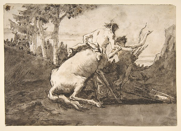 Fascinating Historical Picture of Giovanni Domenico Tiepolo with Centaur with a Young Satyr in 1727