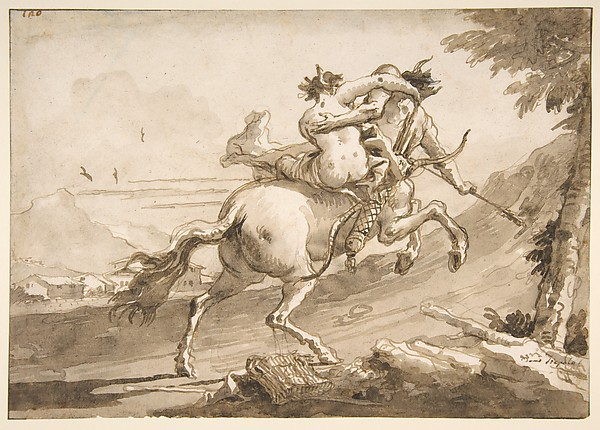 This is What Giovanni Domenico Tiepolo and Back View of a Centaur Abducting a Satyress Looked Like  in 1727