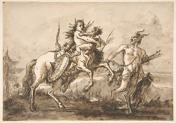 Fascinating Historical Picture of Giovanni Domenico Tiepolo with Satyr Leading a Centauress Who Holds a Satyr Child in 1727