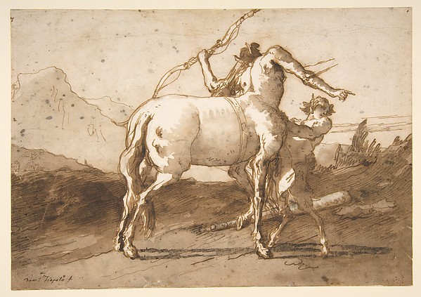 Fascinating Historical Picture of Giovanni Domenico Tiepolo with A Centaur and a Satyr in 1727