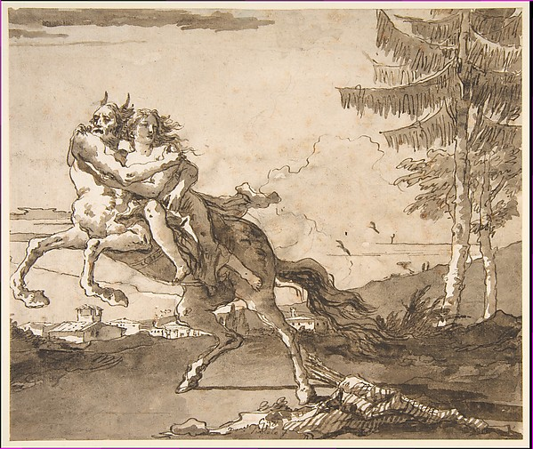 Fascinating Historical Picture of Giovanni Domenico Tiepolo with A Centaur Abducting a Nymph in 1727