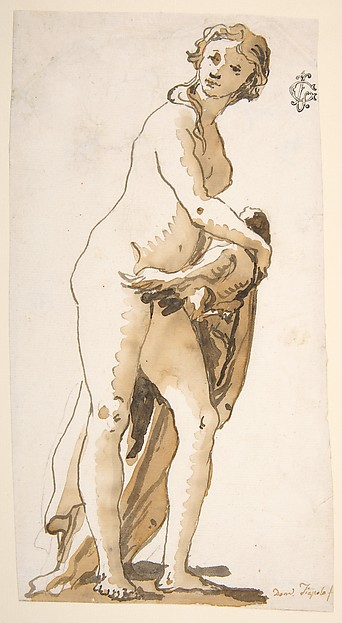 This is What Giovanni Domenico Tiepolo and Study of a Garden Sculpture| Leda? Looked Like  in 1727