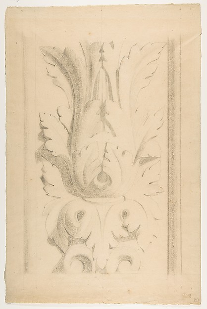 Fascinating Historical Picture of Georges Seurat with Architectural Motif|  Double Acanthus Fleuron in 1875