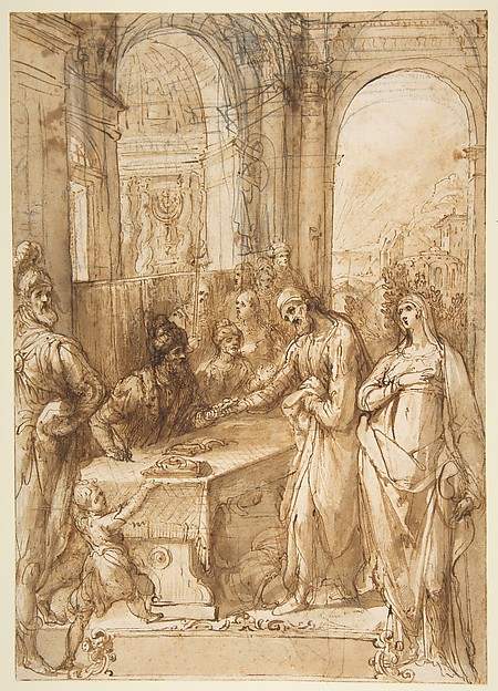 Fascinating Historical Picture of Giovanni de Vecchi with Esther and Mordecai before King Ahasuerus (Esther 8|1- 12) in 1536