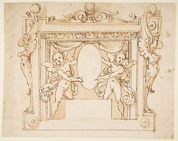 Drawing for a Memorial Tablet: Two Winged Children Holding an Empty Oval in a Frame with Gryphons