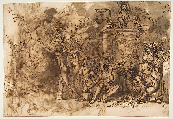 Witches' Sabbath (recto); Figures Gathered around a tree (verso)