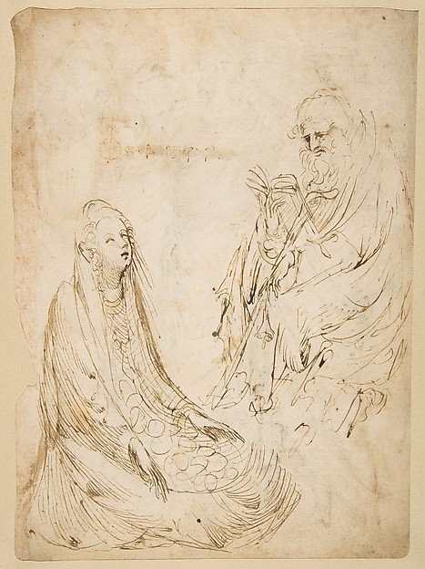 Three Standing Figures (recto); Seated Woman and a Male Hermit in Half-length (verso)