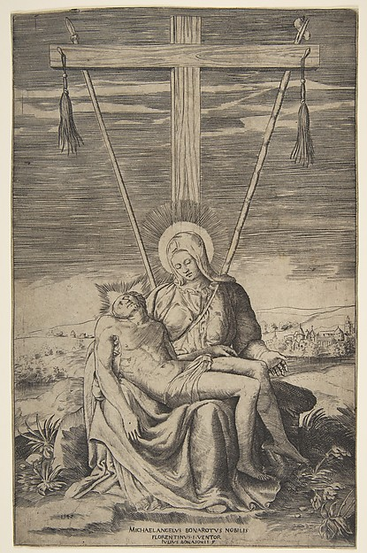 Pieta under the Cross of Golgatha