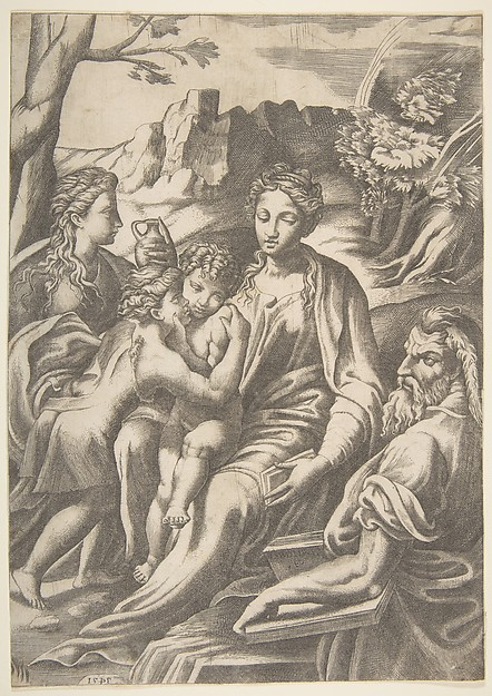 Fascinating Historical Picture of Giulio Bonasone with The Holy Family with Mary Magdalene and John the Baptist who embraces Christ in 1543