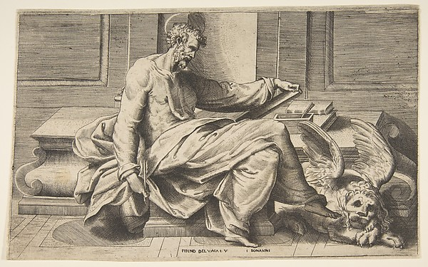 Saint Mark writing his Gospel, a winged lion at the right
