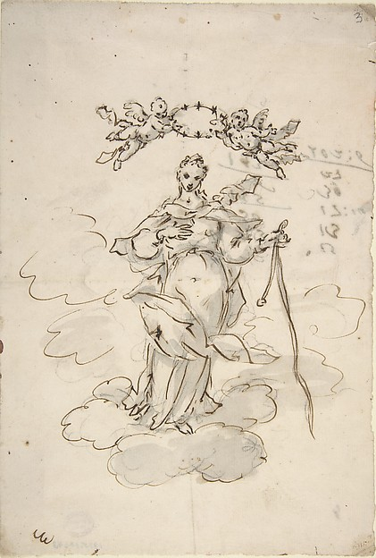 Virgin Standing on Clouds Holding a Scapular in Her Left Hand