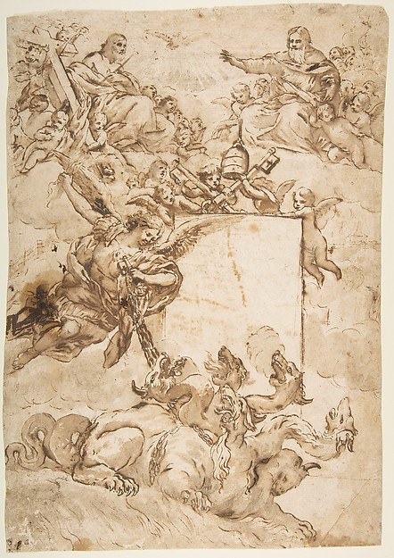 Fascinating Historical Picture of Pietro da Cortona with St. Michael Expurging Heresy. in 1596