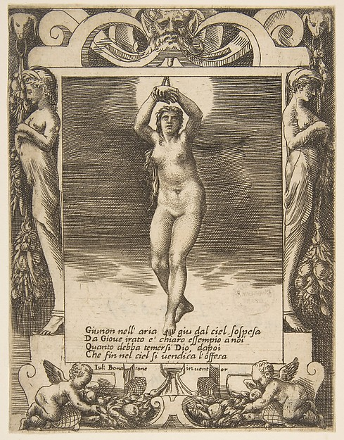 Juno suspended in the air, set within a frame, from the 'Loves, Rages and Jealousies of Juno'