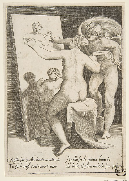 Apollo standing a beside a woman representing an allegory of painting, from 'The Loves of the Gods'