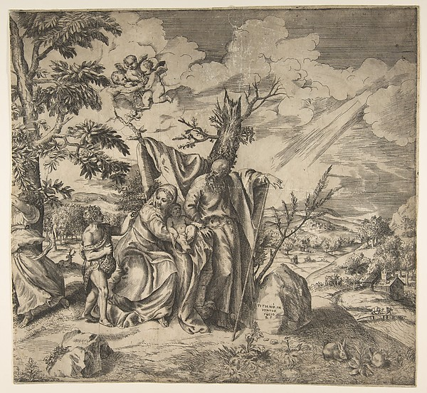 The rest of the Holy Family on their flight to Egypt