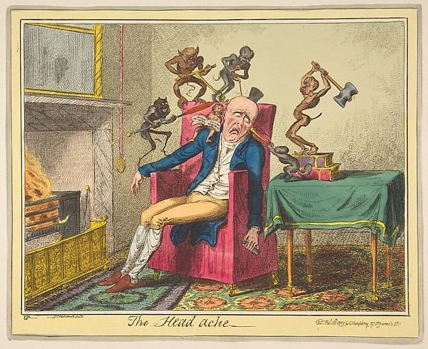 Fascinating Historical Picture of George Cruikshank with The Head Ache on 2/12/1819