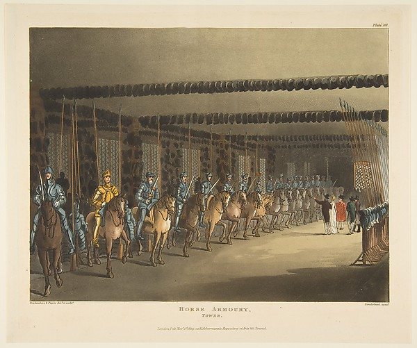 Horse Armoury, Tower of London (The Microcosm of London, plate 101)