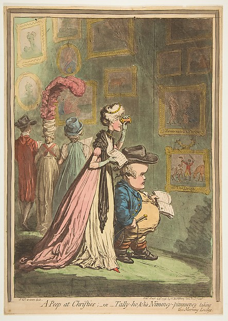 Fascinating Historical Picture of James Gillray with A Peep at Christies;orTally-ho  His Nimeny-pimeney taking the Morning Lounge on 9/24/1796