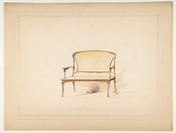Design for Art Nouveau Loveseat with Caning