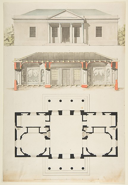 Plan, Elevation, and Section for a Single Story Pavilion