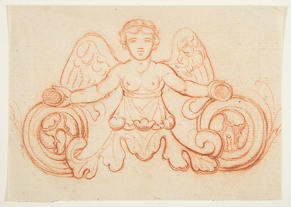 Design with Winged Female Figure