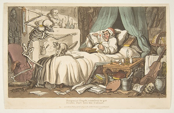 Fascinating Historical Picture of Thomas Rowlandson with The Antiquarys Last Will and Testament (The English Dance of Death plate 2) on 4/1/1814