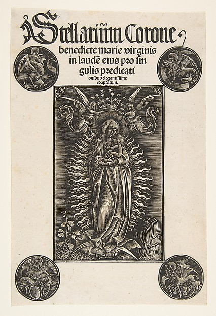 Fascinating Historical Picture of Johann Otmar with Virgin on a Crescent Title-page from Pelbartus de Temesvar|  Stellarium corone (Schr. 2869) in 1502
