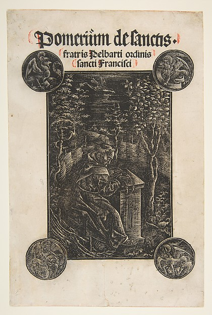 Fascinating Historical Picture of Johann Otmar with The Franciscan Pelbart of Temesvar Studying in a Garden (Schr. 2876) in 1502