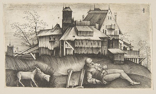 The old shepherd lying in a landscape, buildings behind, a goat and a sheep to the left