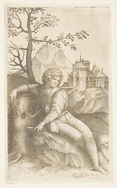Young shepherd seated in a landscape looking toward an old man in the lower right, buildings in the background and a tree and mountain at left