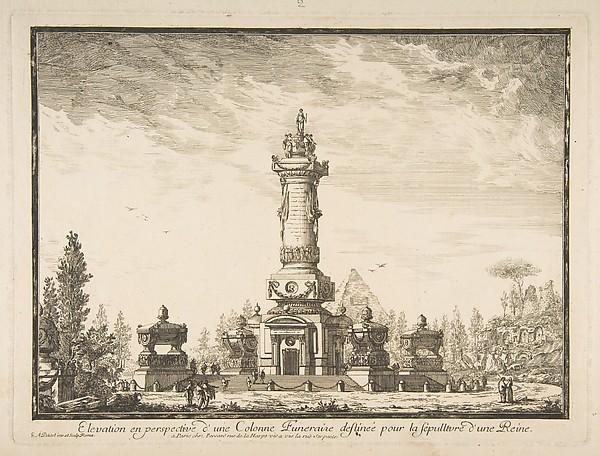 Elevation en perspective d'une colonne destinée pour la Sépultre d'une Reine
