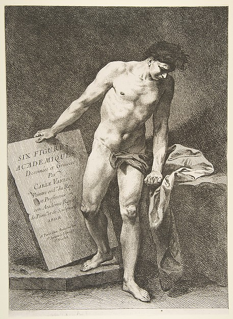 Fascinating Historical Picture of Carle with Frontispiece| Six Figures Acadmiques in 1742