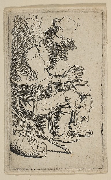 This is What Rembrandt and Beggar Seated Warming His Hands at a Chafing Dish Looked Like  in 1630