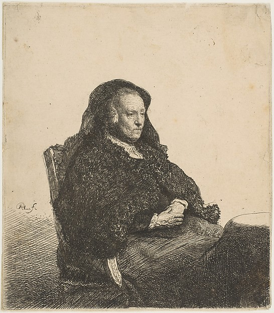 The Artist's Mother Seated at a Table Looking Right: Three-Quarter Length