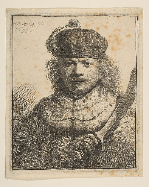 Rembrandt with Raised Sabre