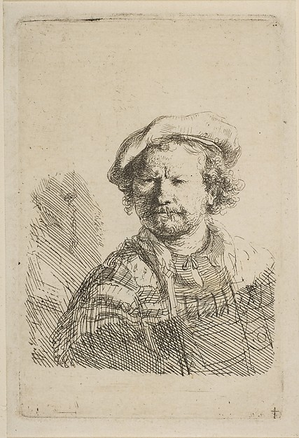 This is What Rembrandt and Self-Portrait in a Flat Cap and Embroidered Dress Looked Like  in 1642