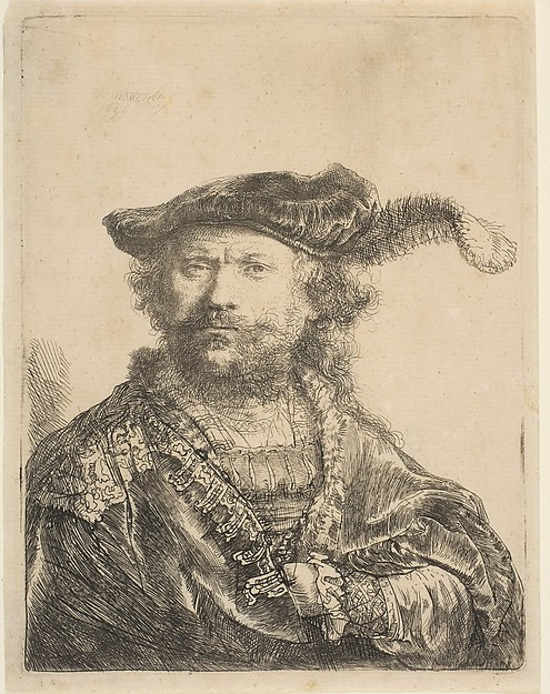 Fascinating Historical Picture of Rembrandt with Self-Portrait in a Velvet Cap with Plume in 1638