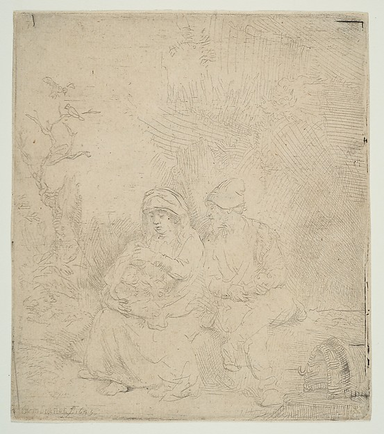 The Rest on the Flight into Egypt; lightly etched