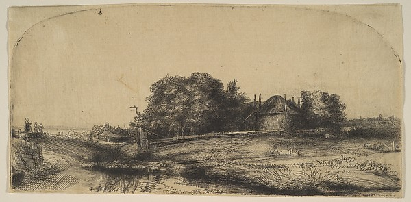 Landscape with a Haybarn and a Flock of Sheep