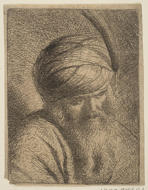 Bust of a Man in a Feathered Turban and Long Beard