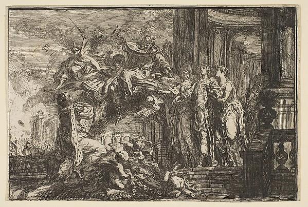 Fascinating Historical Picture of Gabriel de Saint-Aubin with Allegorie sur la Convalescence du Dauphin in 1752