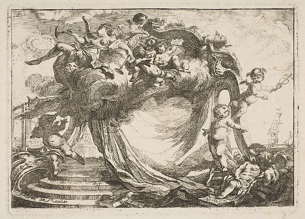 Fascinating Historical Picture of Gabriel de Saint-Aubin with Vignette pour une adresse in 1752
