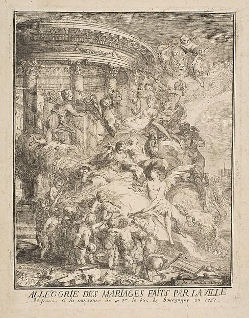 Fascinating Historical Picture of Gabriel de Saint-Aubin with Allegorie des mariages faits par la Ville de Paris a la naissance du Duc de Bourgogne in 1752