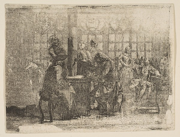 Fascinating Historical Picture of Gabriel de Saint-Aubin with Les Nouvellistes in 1752