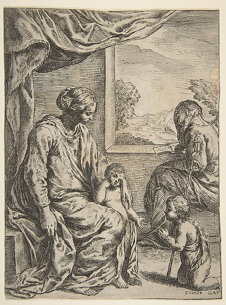 Fascinating Historical Picture of Simone Cantarini with Holy Family with Saint John the Baptist in 1620