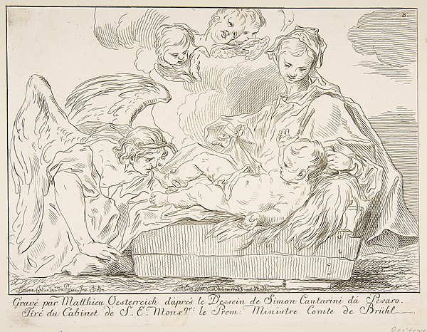 Fascinating Historical Picture of Matthias Oesterreich with Virgin and Child with an angel in 1752