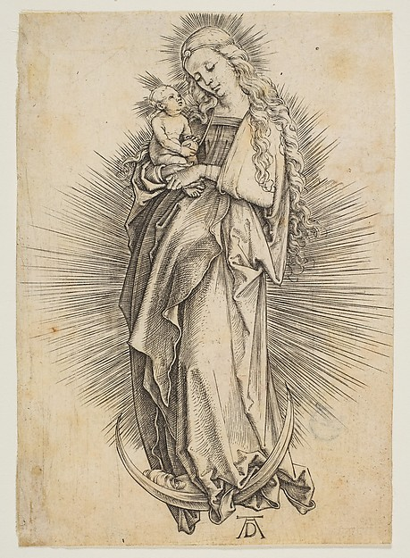 Fascinating Historical Picture of Albrecht Drer with The Virgin on the Crescent in 1499