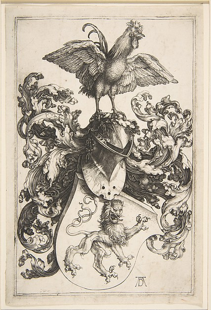 Fascinating Historical Picture of Albrecht Drer with Coat of Arms with Cock in 1502