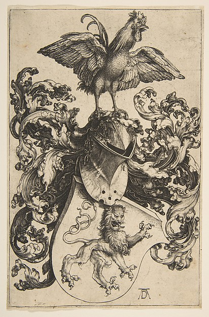 Fascinating Historical Picture of Albrecht Drer with Coat of Arms with a Lion and a Cock in 1502